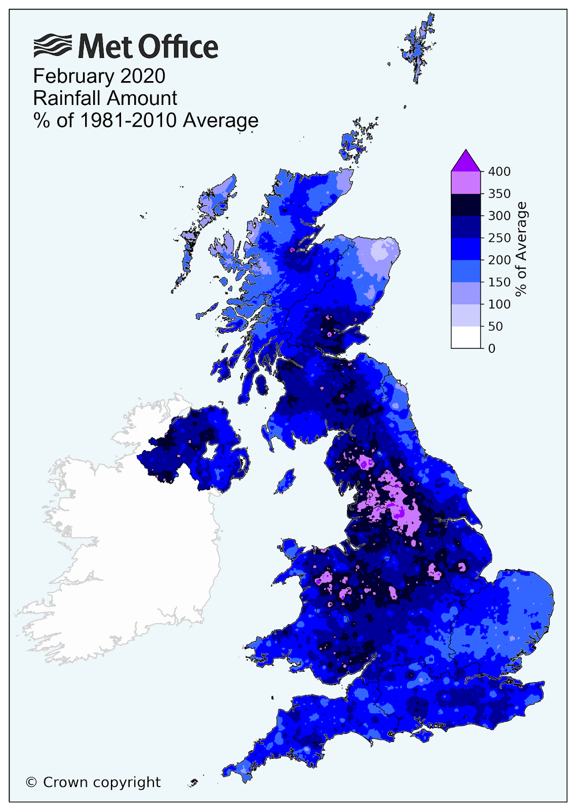 Met Office February 2020 Rainfall Amount Percent of 1981 to 2010 average (ranges from 100% to 400% in small areas)