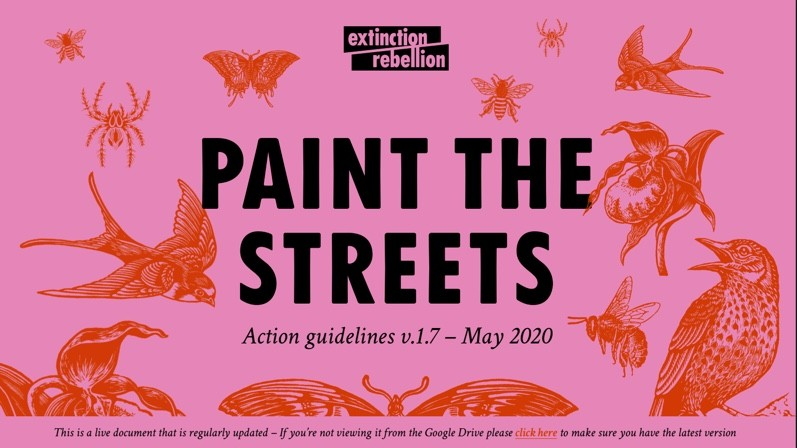 This image is the Paint the streets action guideline booklet front page