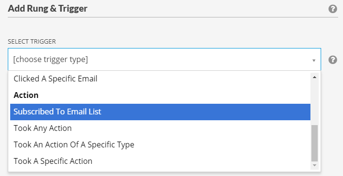 """Edit a rung & trigger dialog with """"Subscribed to Email List"""" highlighted"""
