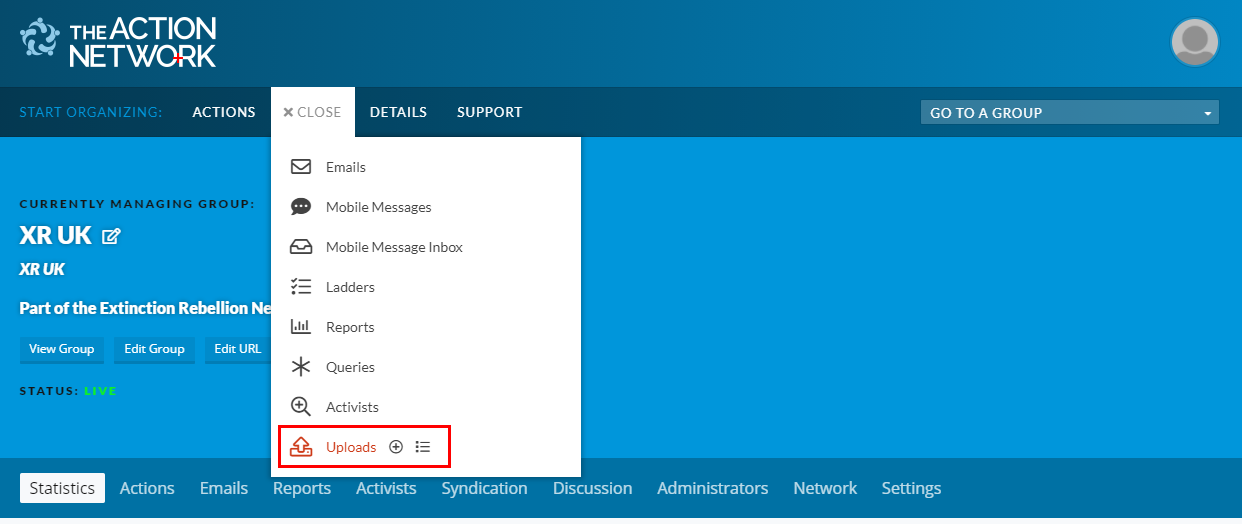 Action Network dropdown list with 'Upload' highlighted