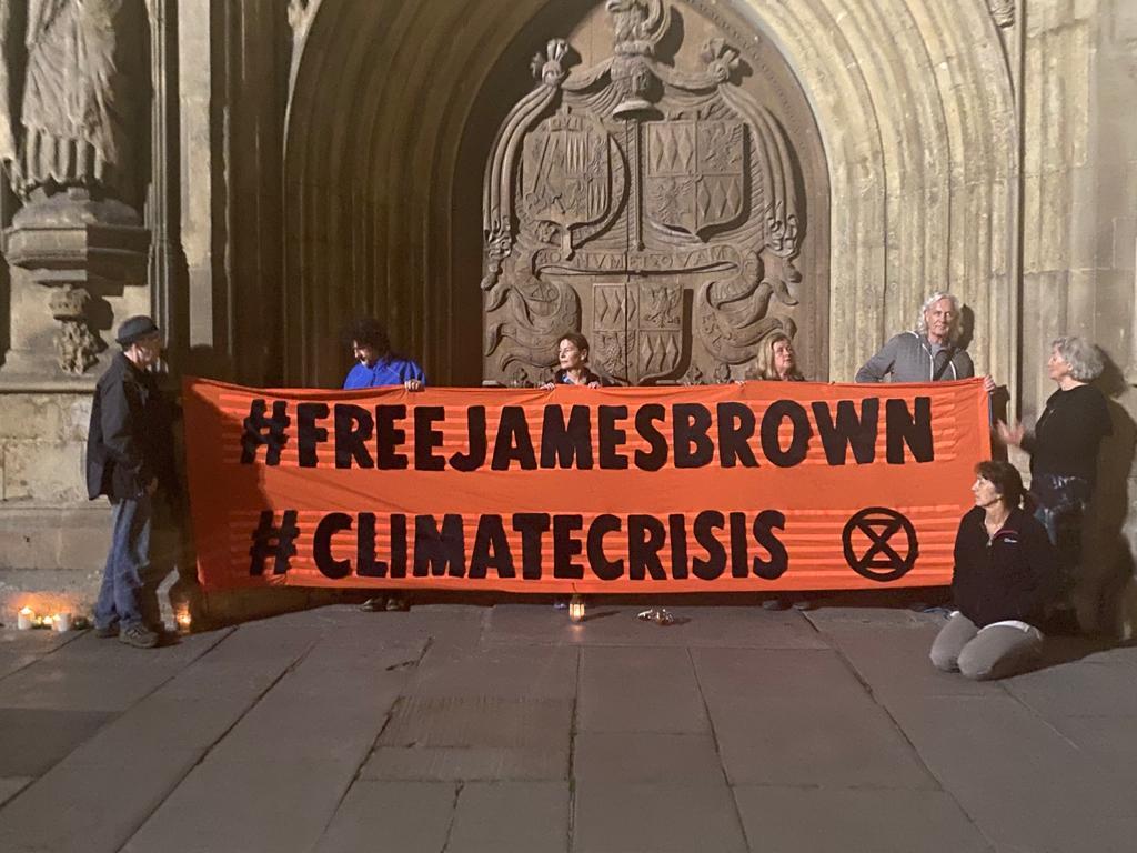 Free James Brown banner outside Bath Abbey